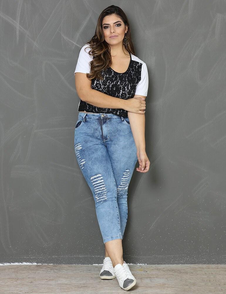 Calça Jeans Cropped Feminina Fact Jeans ref. 03151 - Plus Size