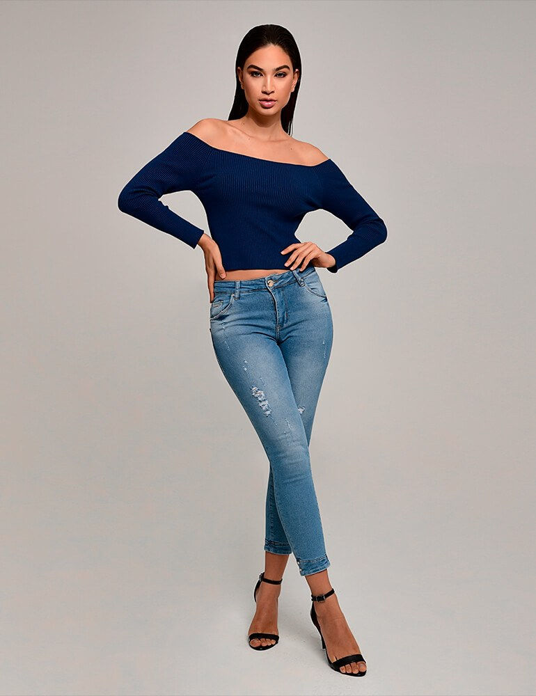 Calça Jeans Cropped Feminina Fact Jeans ref. 03876