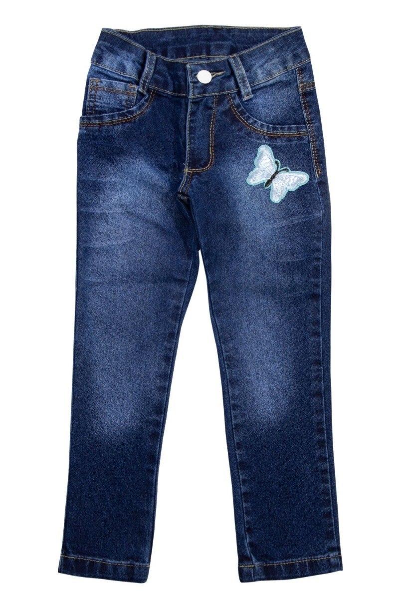 Calça Jeans Infantil Meninas Bordado Borboleta Tamanhos 4, 6 e 8