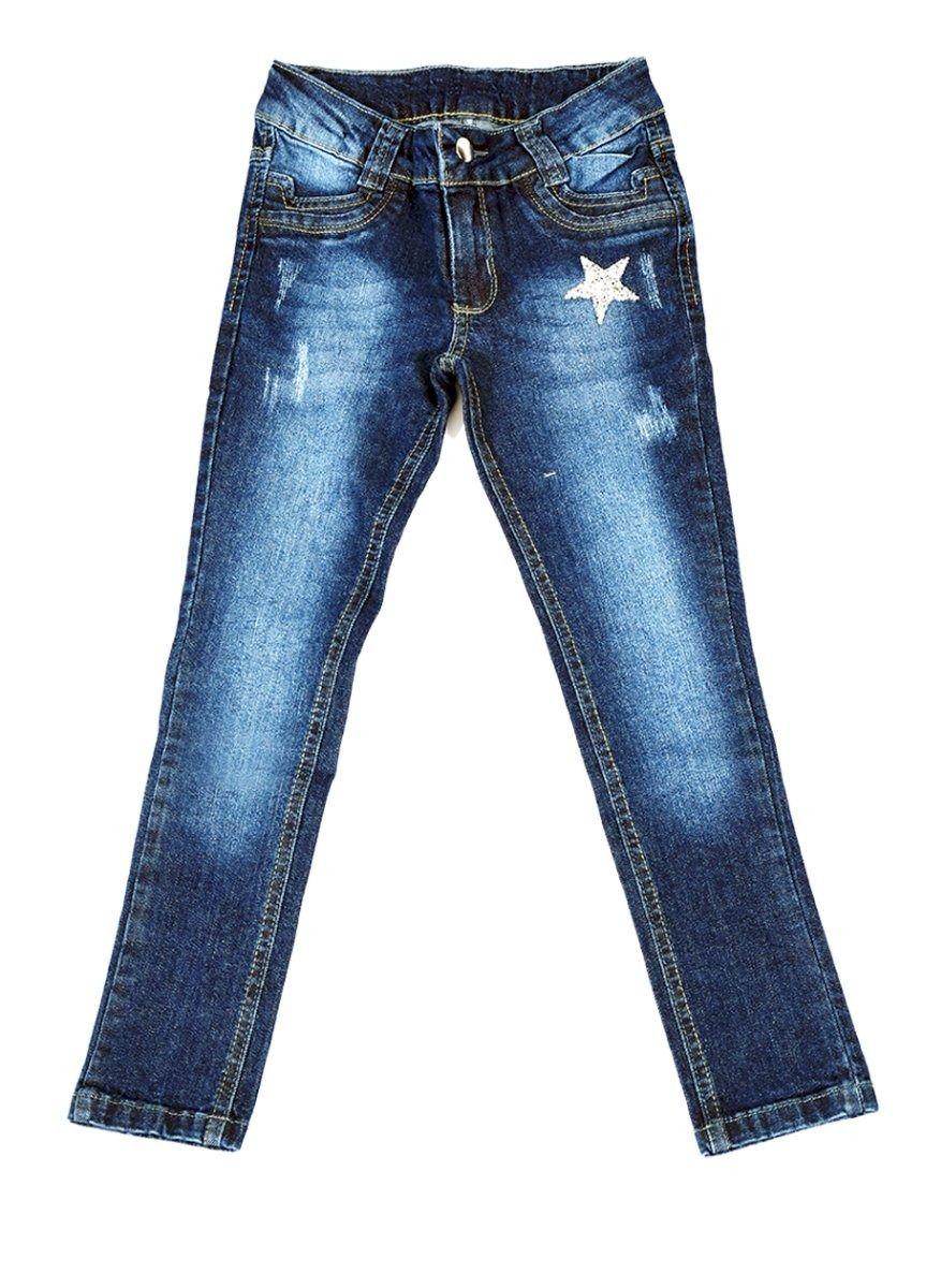 Calça Jeans Infantil Meninas com Patch Estrela Tamanhos 04, 06 e 08 [Ref 1630]