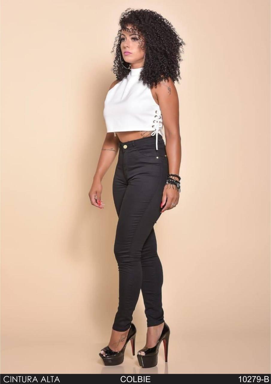 Calça Jeans Skinny Cintura Alta Preta  ref. 10279-B