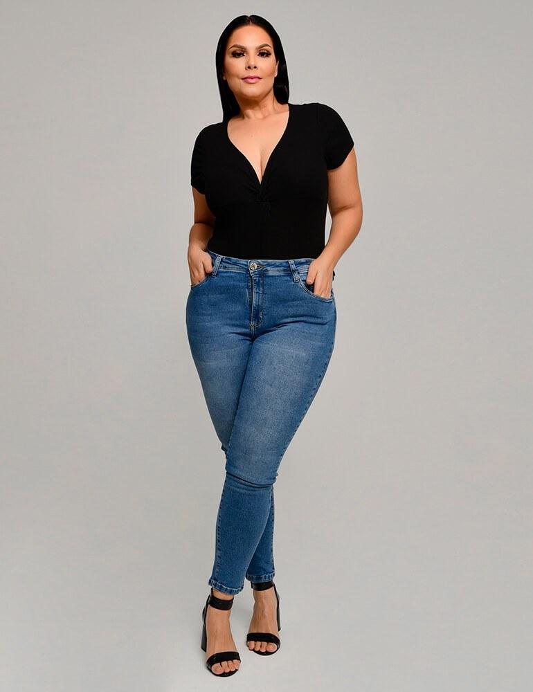 Calça Jeans Skinny Feminina Fact Jeans Plus Size ref. 03847