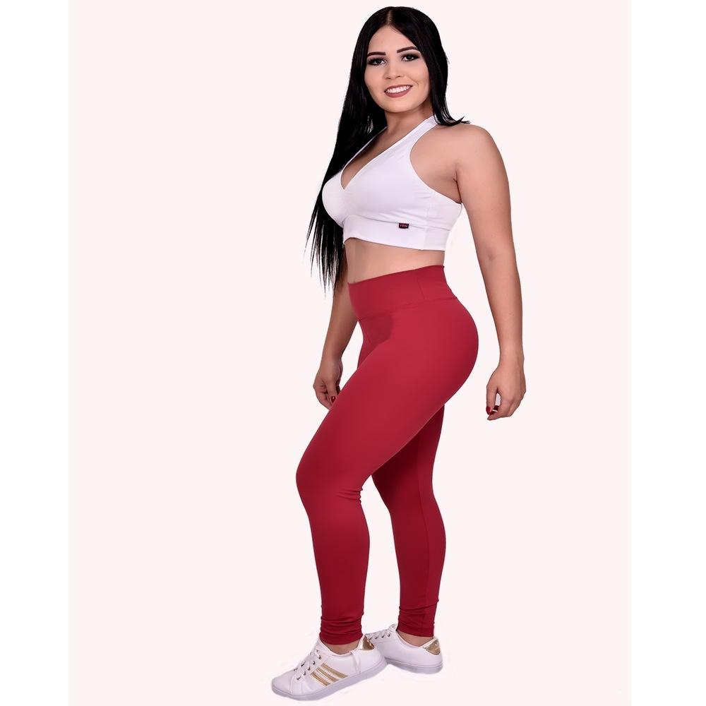 Calca Legging Lisa  Fitness  Academia Vermelha