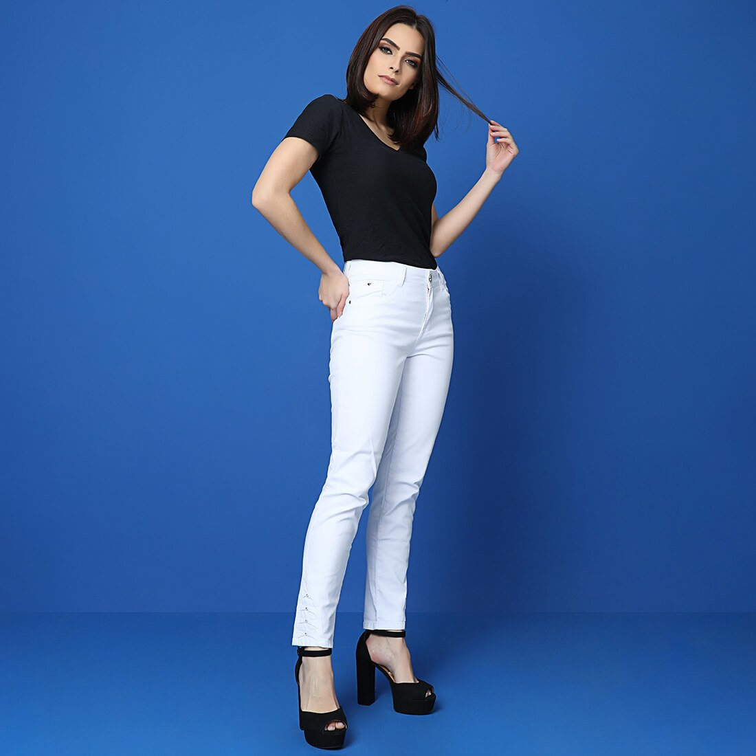 Calça Sarja Cigarrete Feminina Fact Jeans ref. 03641 - Branca