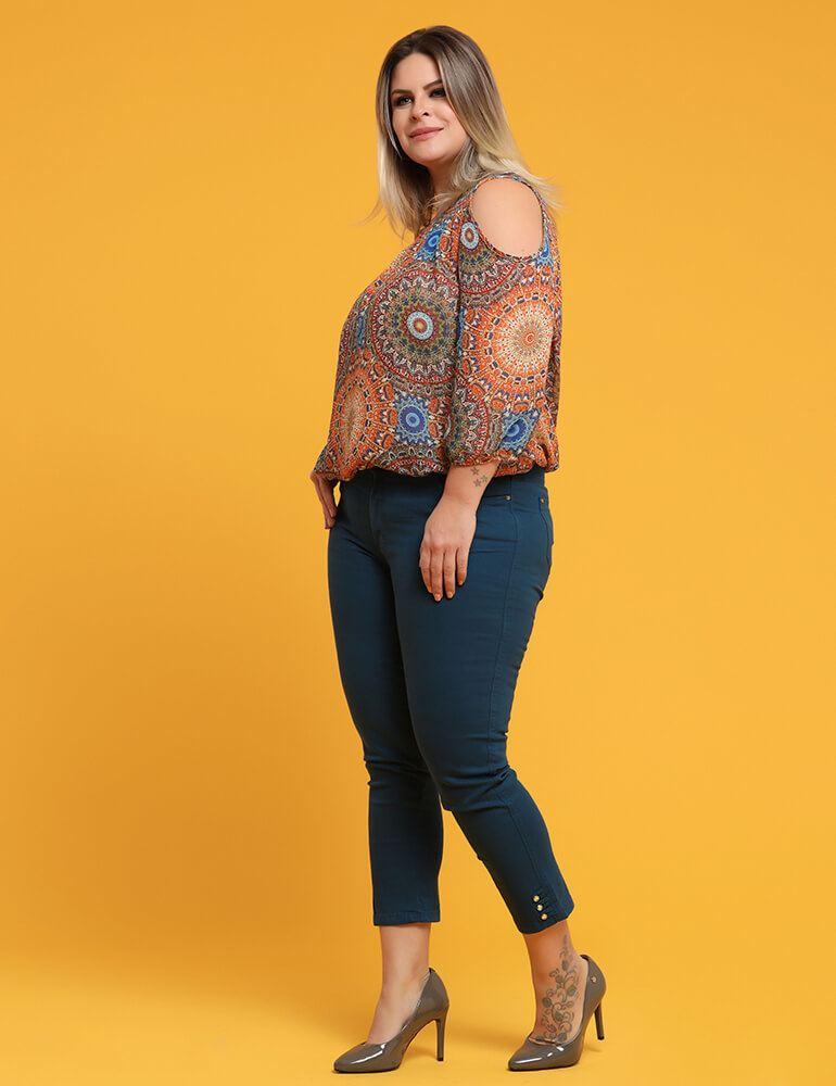 Calça Sarja Cropped Feminina Fact Jeans Plus Size - Azul ref. 03659