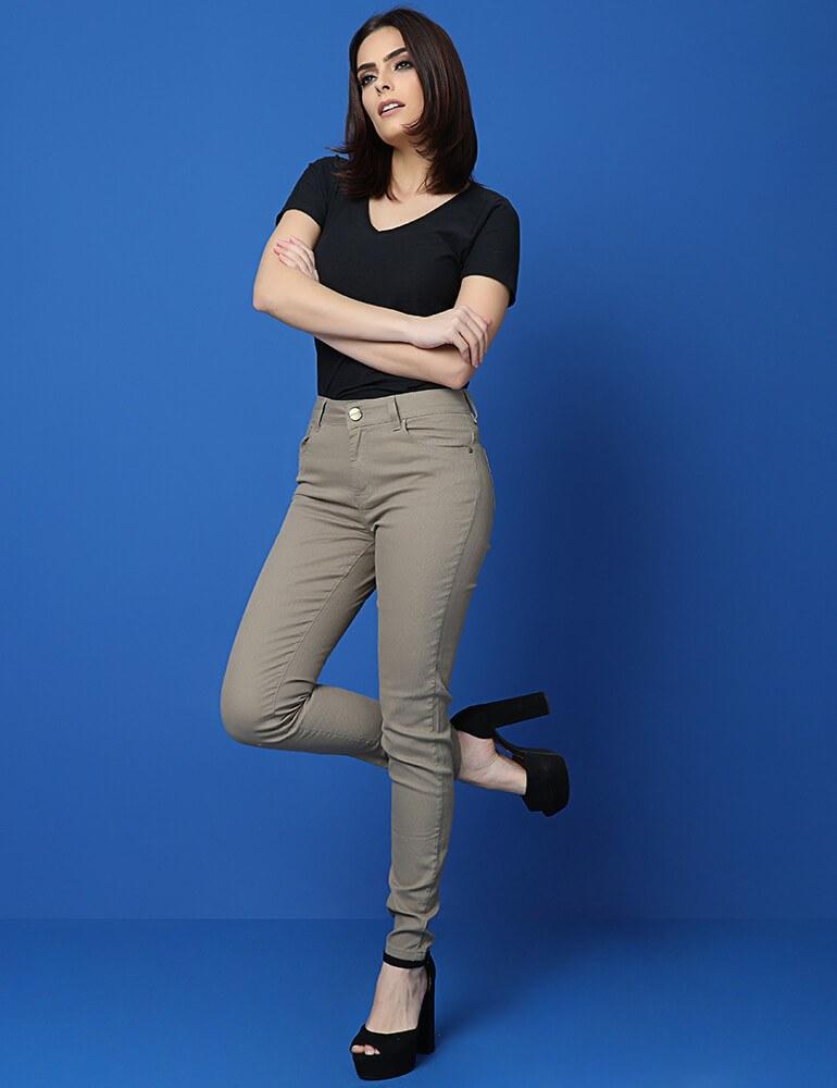 Calça Skinny Feminina Fact Jeans - Caqui [3671]