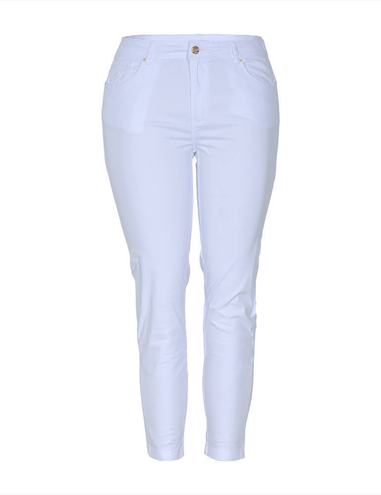 Calça Skinny Feminina Fact Jeans Plus Size - Branca [03273]