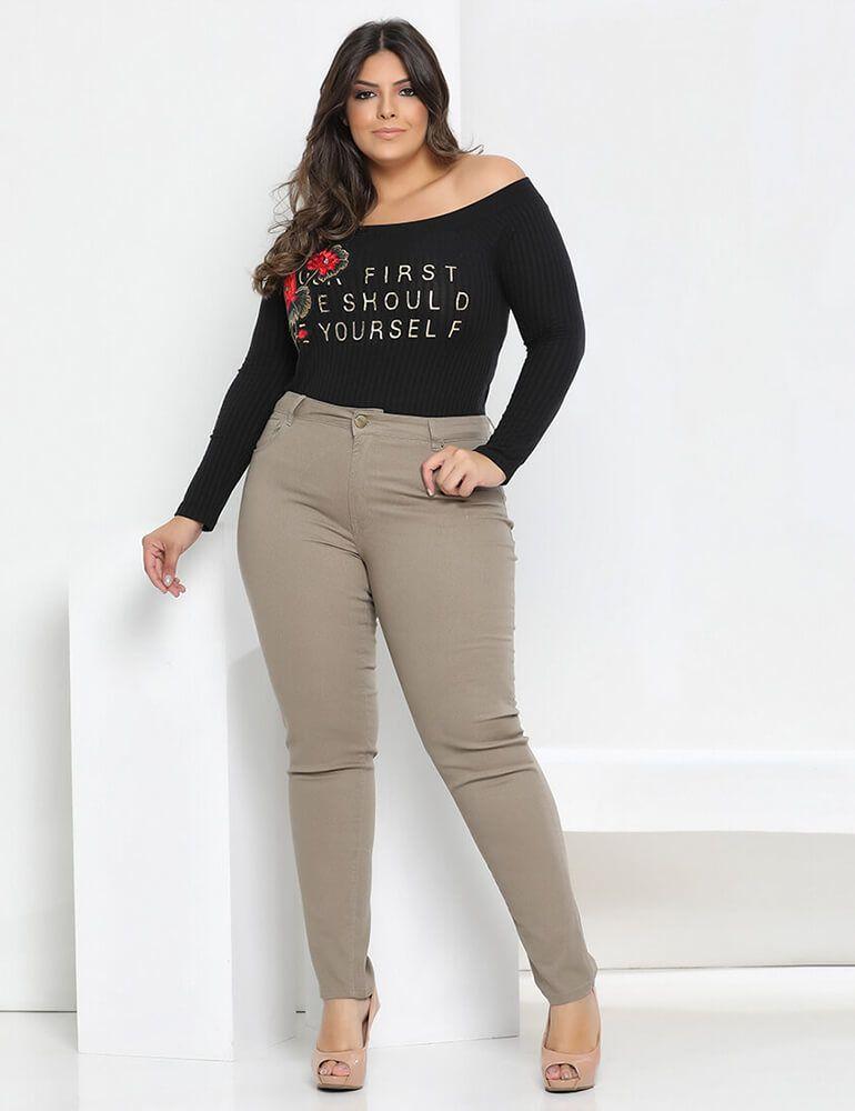 Calça Skinny Feminina Fact Jeans Plus Size - Caqui ref. 3672