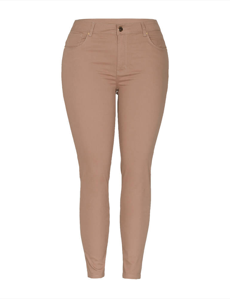 Calça Skinny Feminina Fact Jeans Plus Size - Caramelo ref. 3672