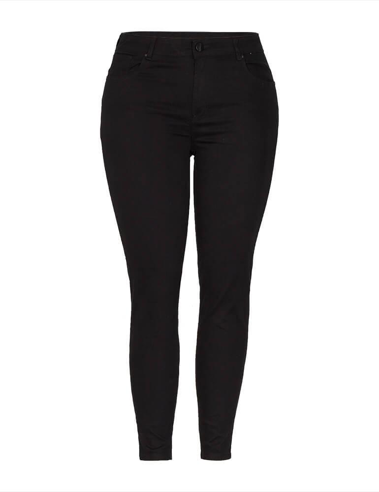 Calça Skinny Feminina Fact Jeans Plus Size - Preta [3672]