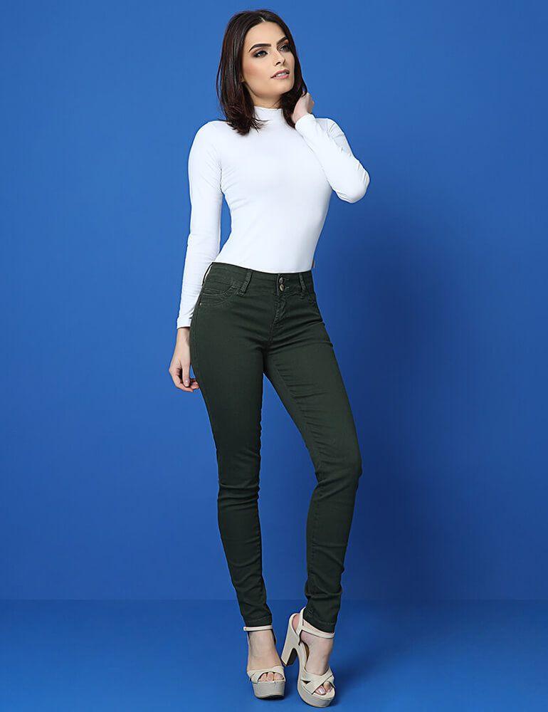 Calça Skinny Feminina Fact Jeans - Verde ref. 03371