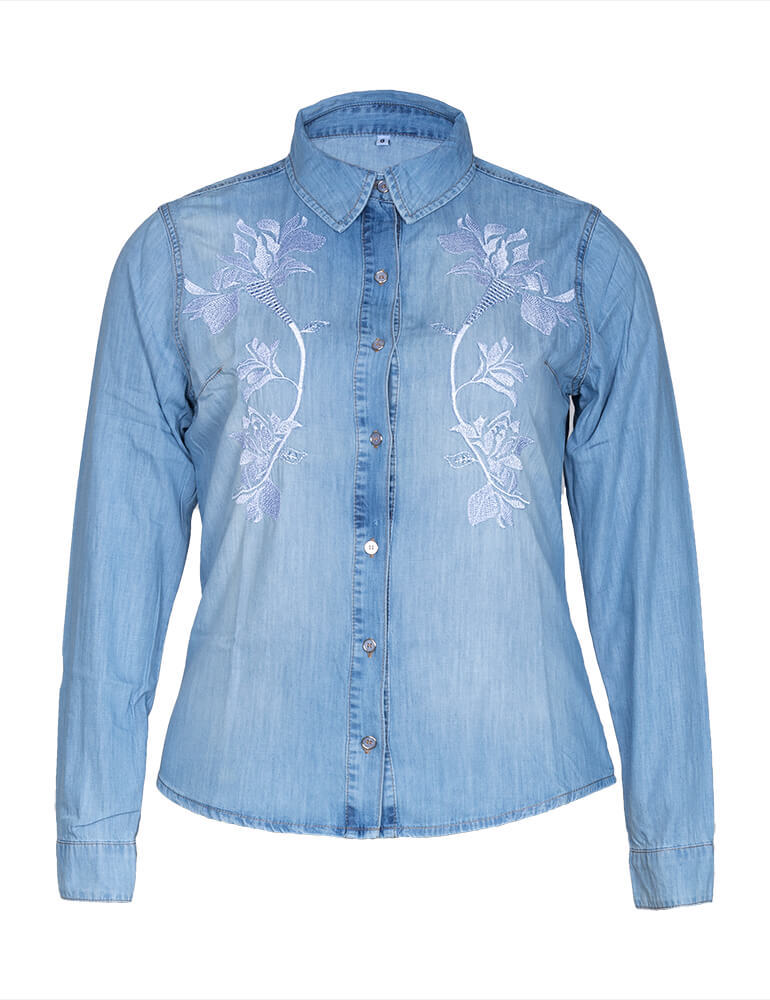 Camisa Jeans Feminina Fact Jeans Bordada ref. 03425