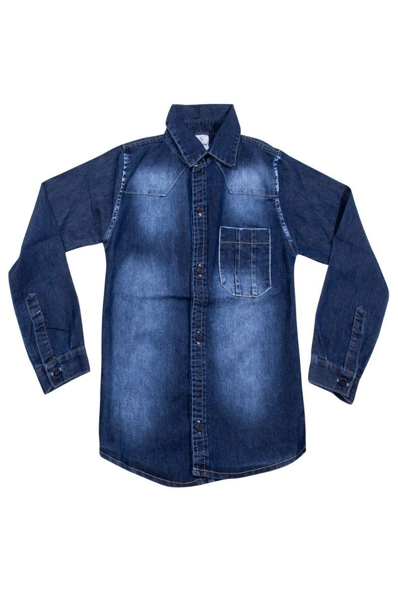 Camisa Jeans Meninos Infanto Juvenil Tamanhos 04 ao 16