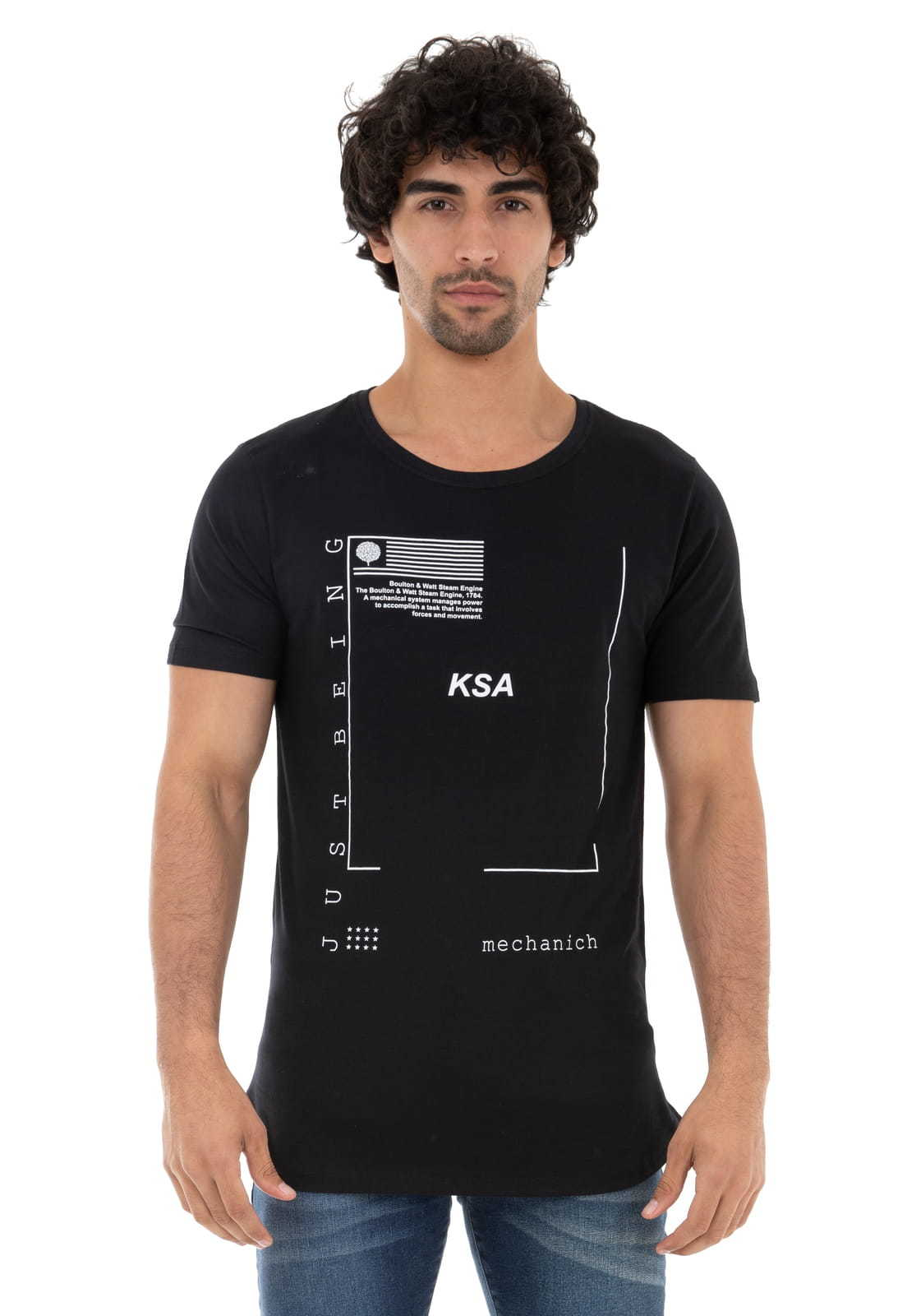 Camiseta Longline Just Being KSA da árvore
