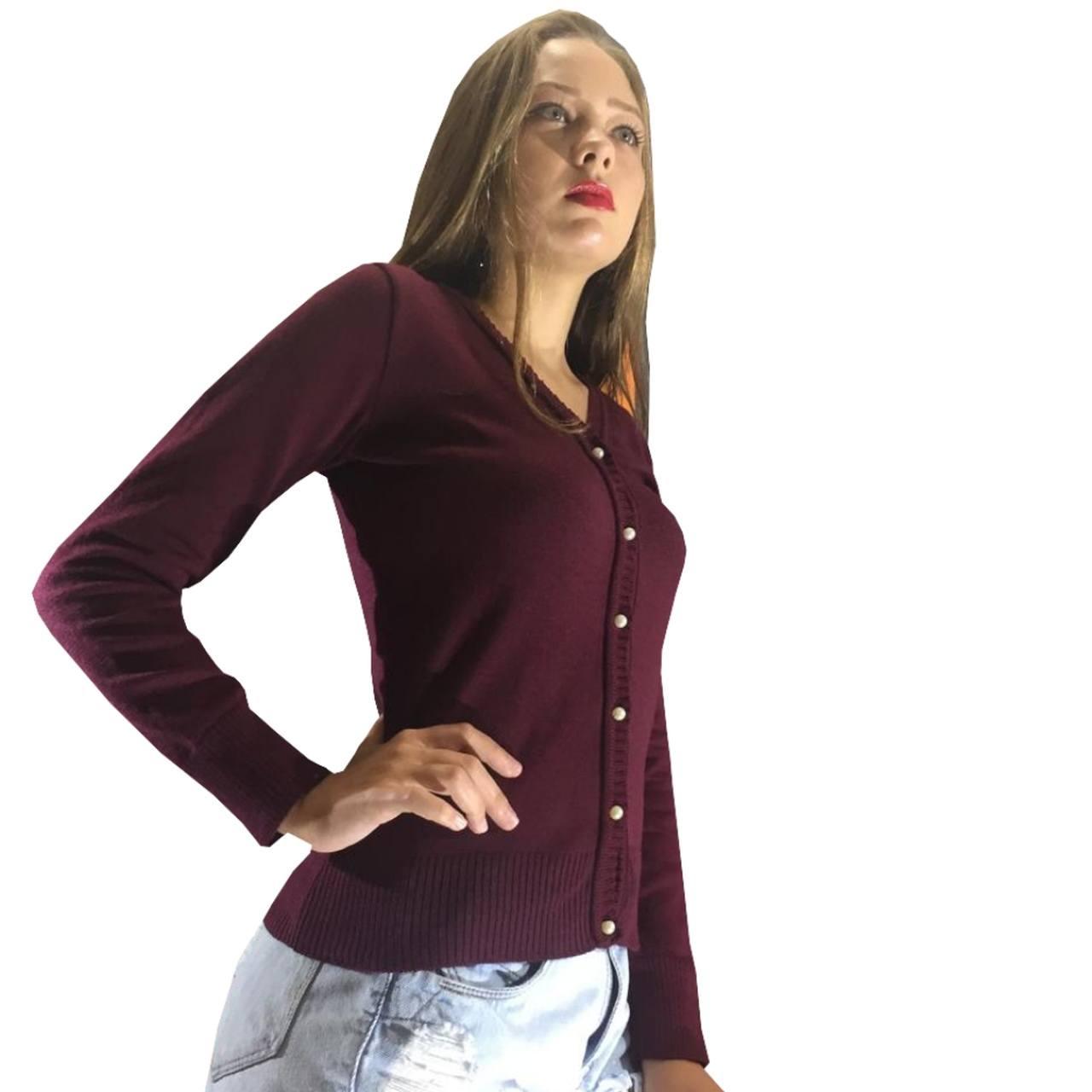 Casaco de lã suéter de inverno corta vento feminino de trico