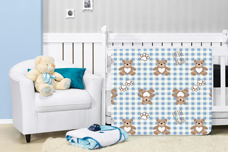Cobertor Manta Bebê Baby Flannel Estampado Etruria Lillo 1,10x0,90m - Azul