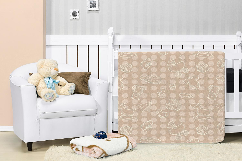 Cobertor Manta Bebê Baby Flannel Estampado Etruria Parquinho  1,10x0,90m - Bege