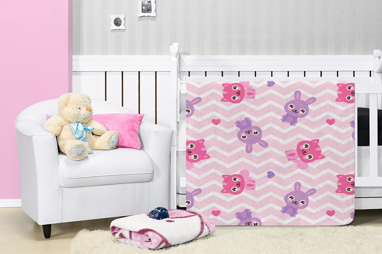 Cobertor Manta Bebê Baby Flannel Estampado Etruria  Fofys 1,10x0,90m - Rosa