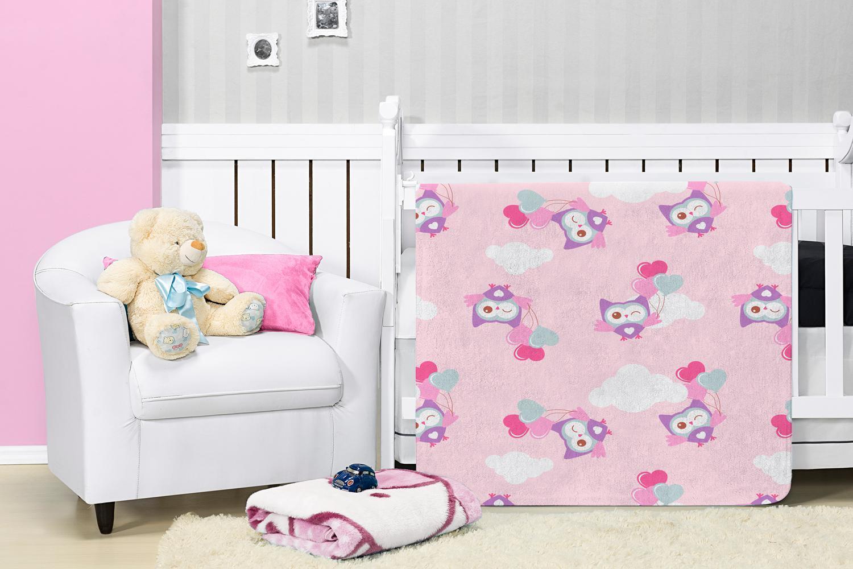 Cobertor Manta Bebê Baby Flannel Estampado Etruria Paty 1,10x0,90m - Rosa