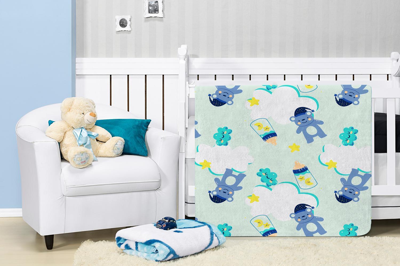 Cobertor Manta Bebê Baby Flannel Estampado Etruria Sonho 1,10x0,90m - Verde