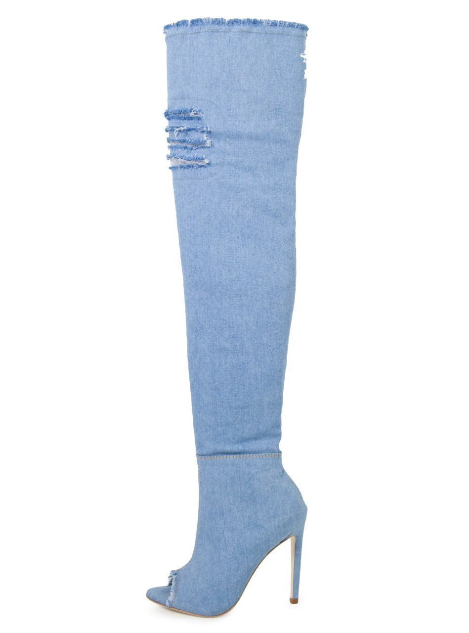 Bota Open Boot Conceito Fashion Over The Knee Jeans Azul Claro