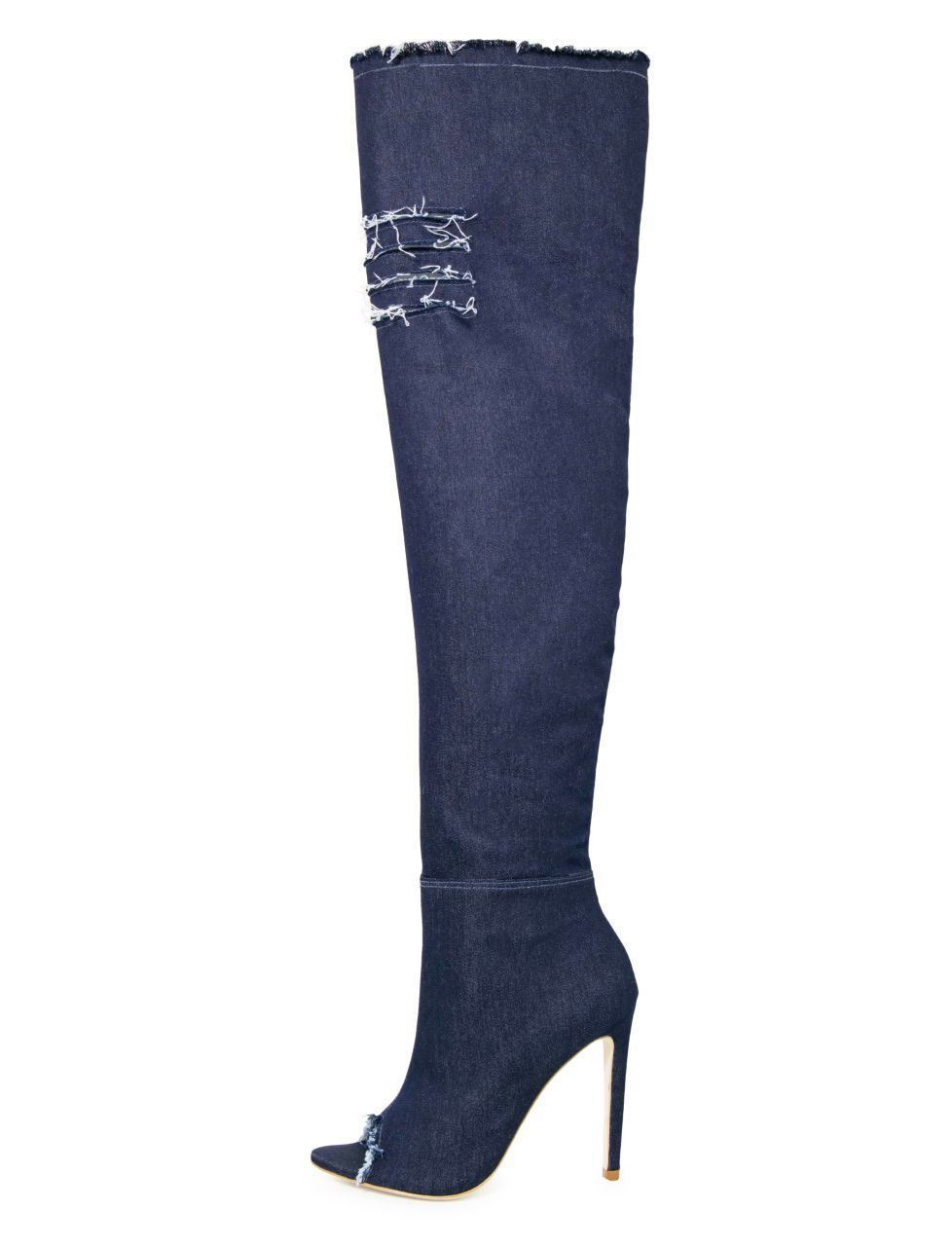 Bota Open boot Conceito Fashion Over The Knee Jeans Azul Escuro