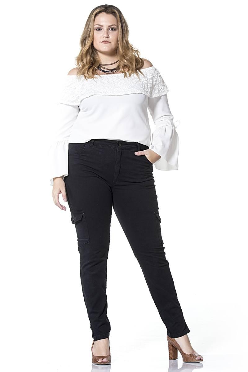 Calça Dinhos Jeans Cargo Color Preta Feminina [2336]