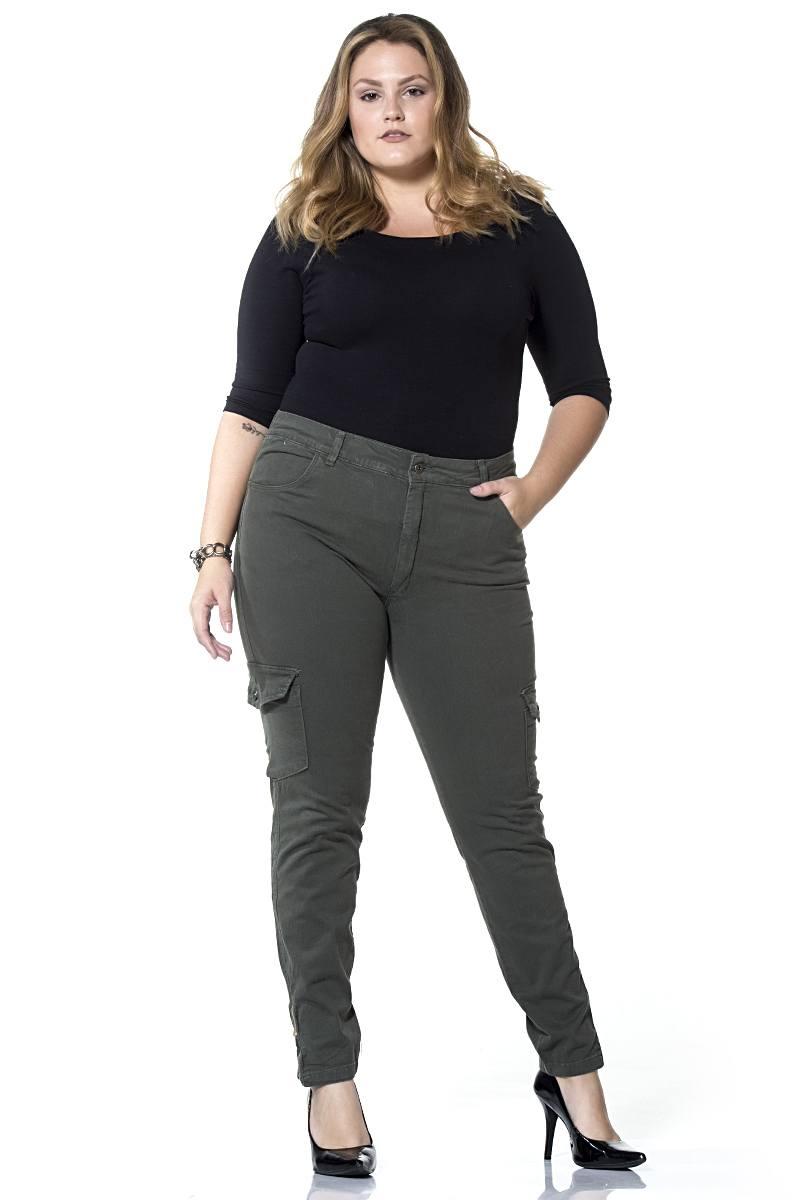 Calça Dinhos Jeans Cargo Color Verde Musgo Feminina [2336]