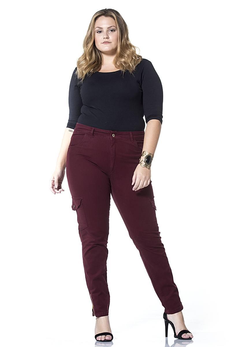Calça Dinhos Jeans Cargo Color Vinho [2336]
