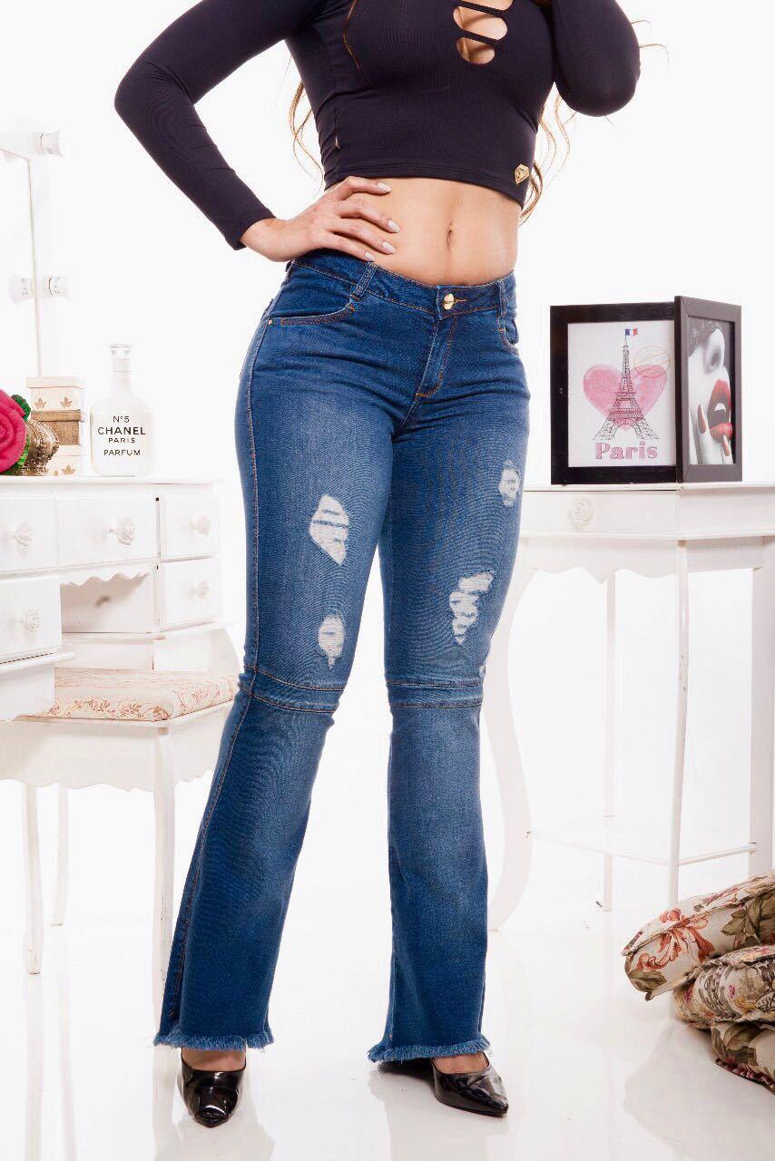 Calça Flare Jeans Feminina Destroyed com Recorte [38486]