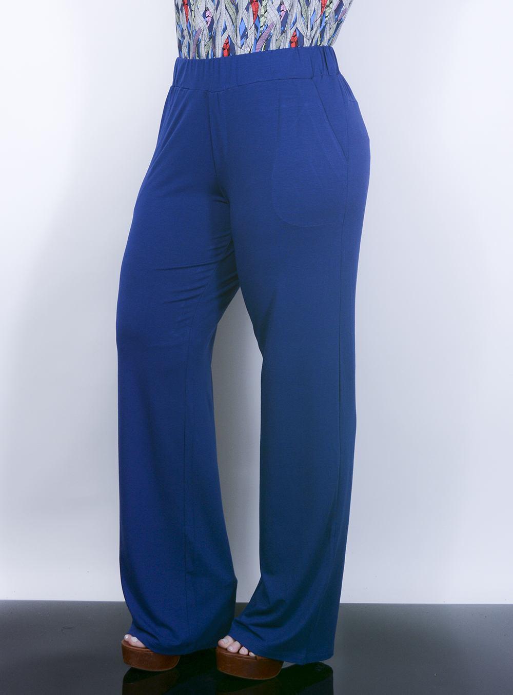 Calça Pantalona em Malha com Bolsos Azul Royal [AD5326]