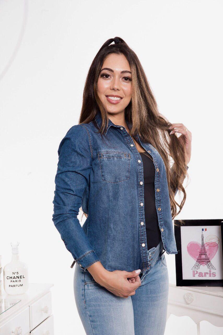 Camisa Jeans Feminina Azul Médio [5569]