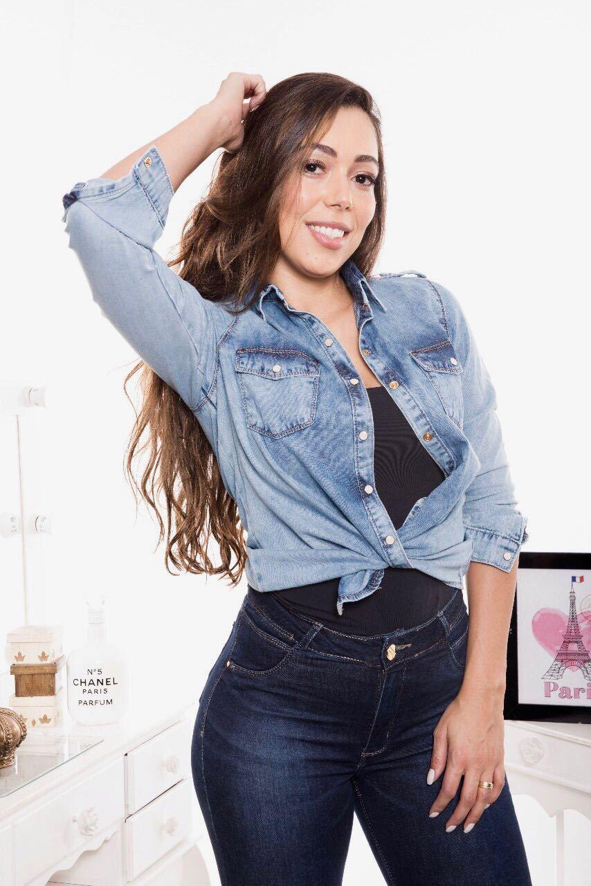 Camisa Jeans Feminino Lavagem Clara [5596]