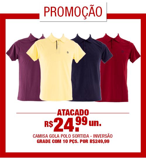 Camisa Masculina Polo Cores (Grade 10 Peças) [JB018]