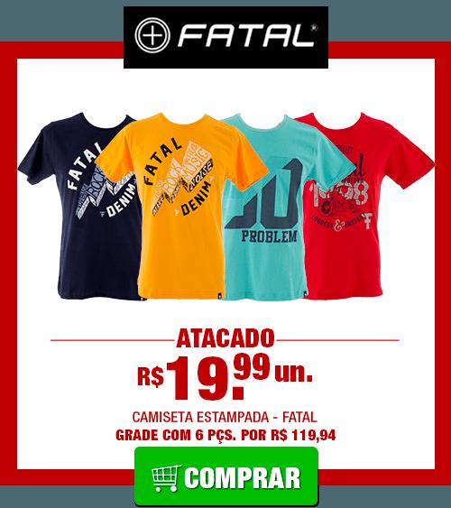440b016581453 Camiseta Masculina Fatal Gola Careca (Grade 6 Peças)  FATAL000