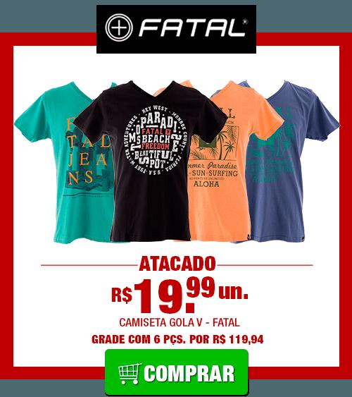 Camiseta Masculina Fatal Gola V (Grade 6 Peças) [FATAL000V]