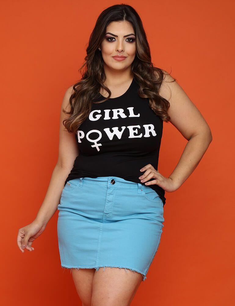Mini Saia Feminina Fact Jeans Plus Size - Azul [3296]
