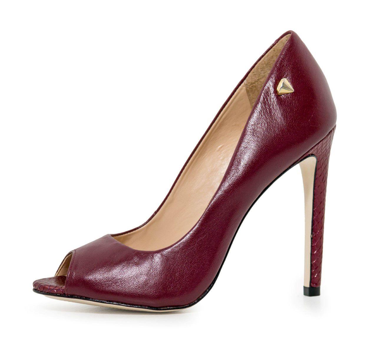 Peep Toe Conceito Fashion Couro Cabra Borgonha