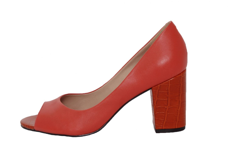 Peep Toe Conceito Fashion Couro Laranja