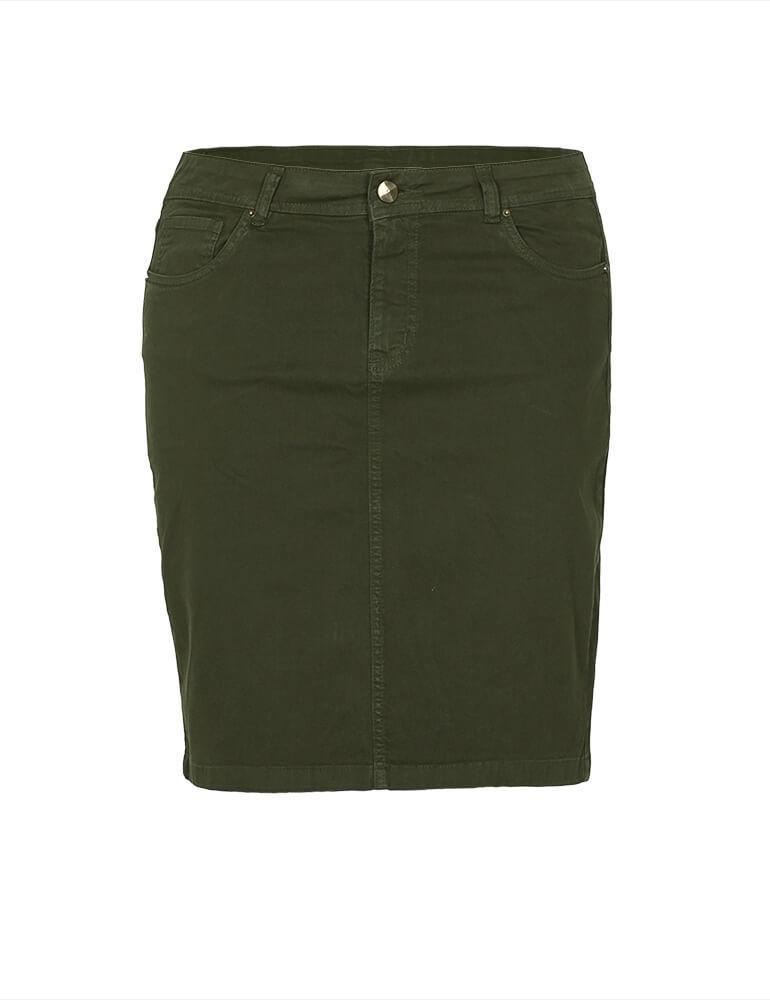 Saia Sarja Secretária Feminina Fact Jeans - Verde - Plus Size [03169]
