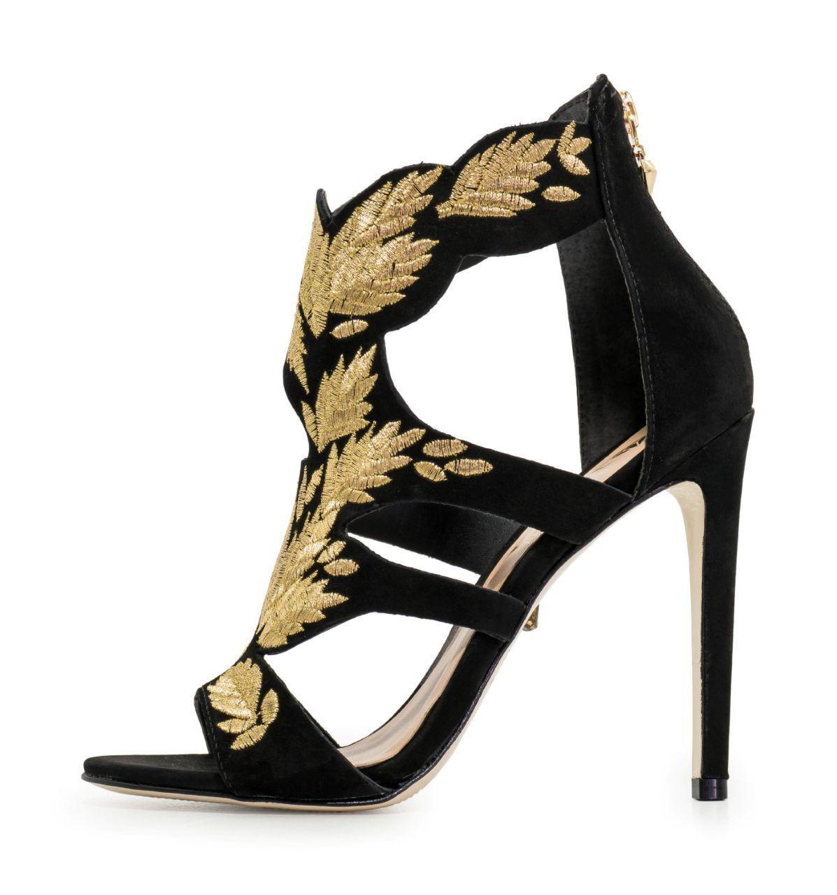 Sandália Conceito Fashion Couro Nobuck Preta Dourada