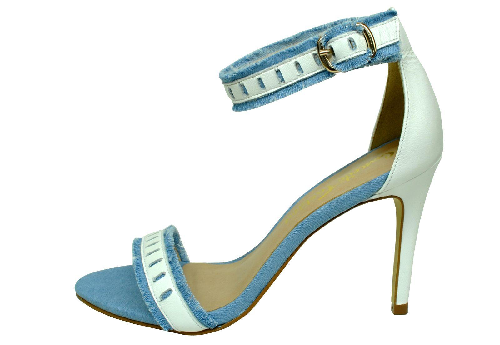 Sandália Bellagio Jeans Claro Couro Branca