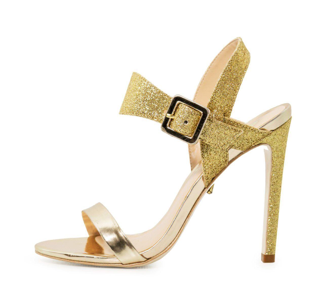 Sandália Conceito Fashion Specchio Glitter Ouro