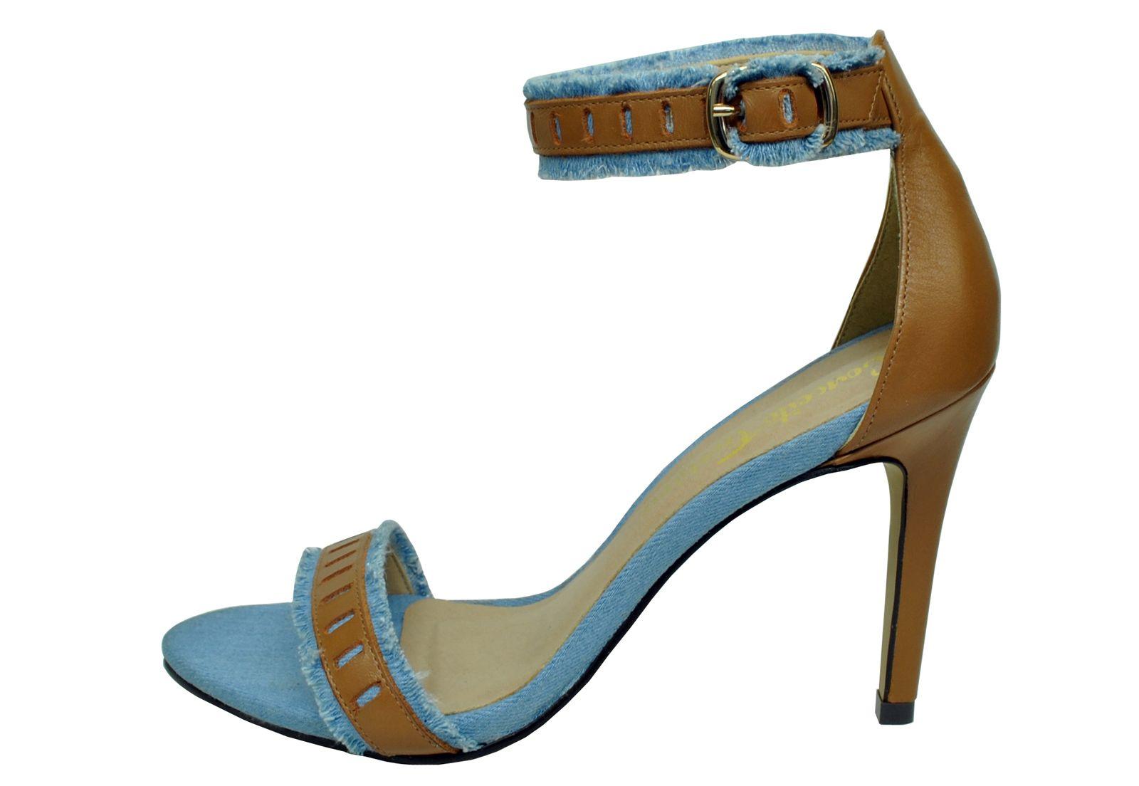 Sandália Conceito Fashion Jeans Claro Couro Conhaque