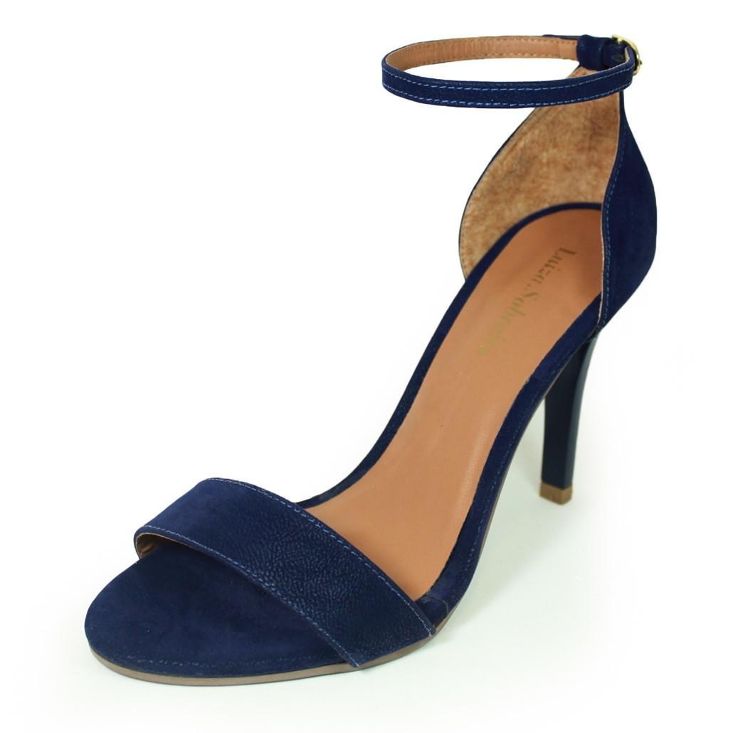 Sandália Salto Fino Luiza Sobreira Nobuck Azul Mod. 489