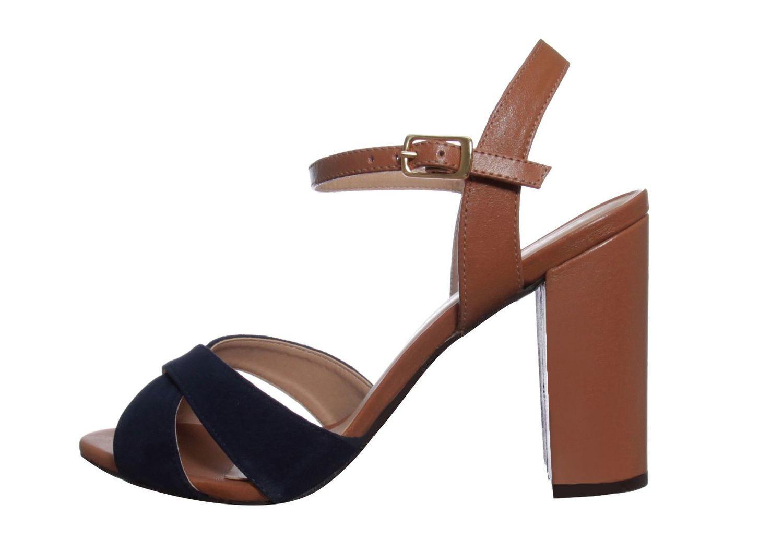 Sandália Salto Grosso Conceito Fashion Couro Camurça Azul Marinho Conhaque