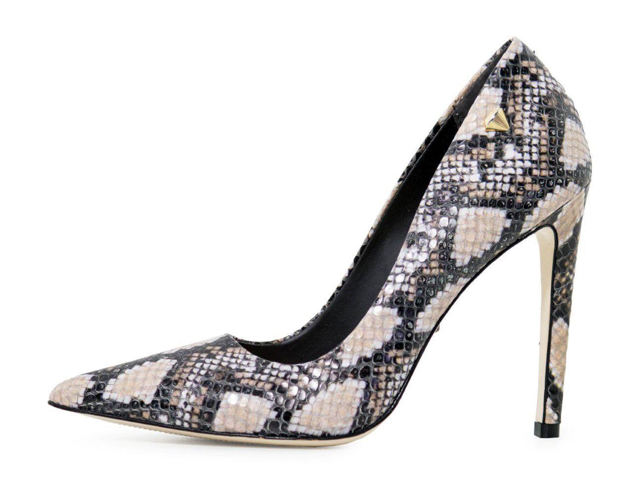 Scarpin Conceito Fashion Couro Cobra Multicolor