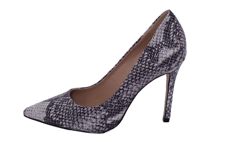 Scarpin Couro Cobra Conceito Fashion Cinza Multicolorido