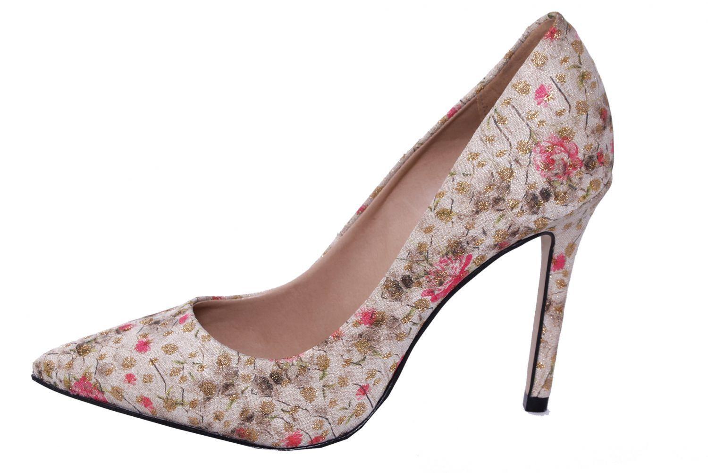 Scarpin Conceito Fashion Floral Dourado