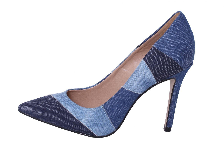 Scarpin Jeans Conceito Fashion Azul Multicolorido